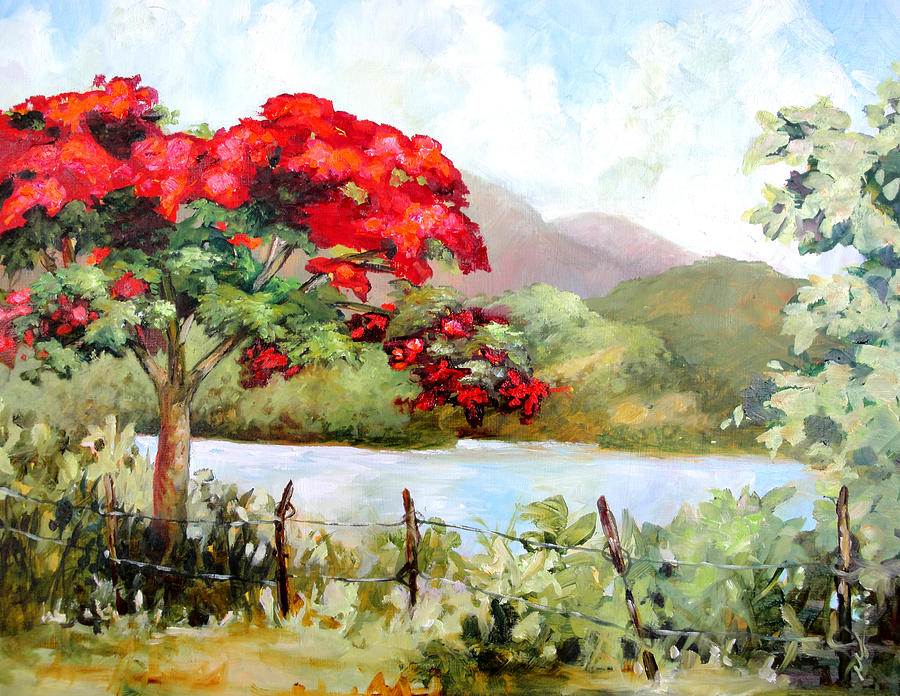 Tree Painting - Flamboyan By The Lake by Monica Linville