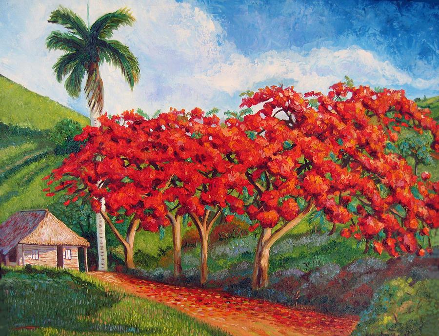 Flamboyans Painting by Jose Manuel Abraham