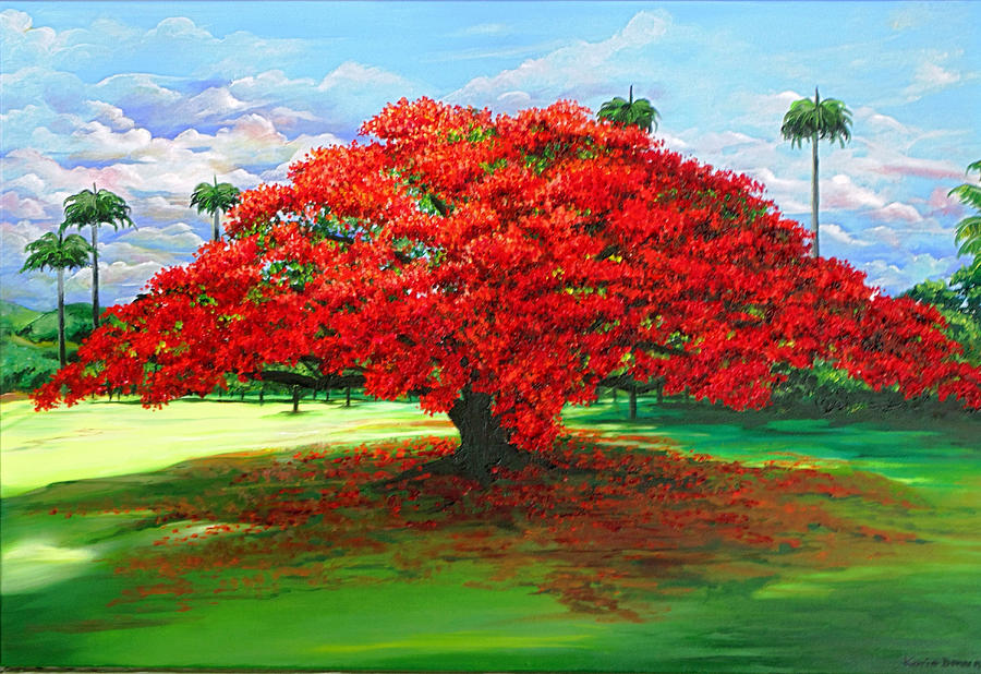 Flamboyant Tree Painting - Flamboyant Ablaze by Karin  Dawn Kelshall- Best