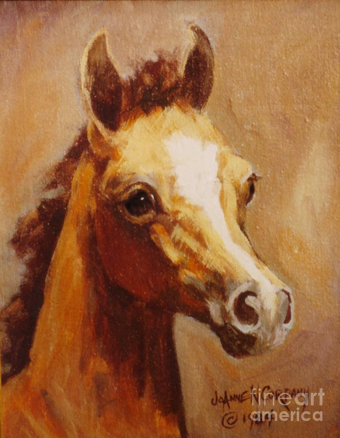 Acrylic Painting - Flame Princess    Arabian Filly Portrait by JoAnne Corpany
