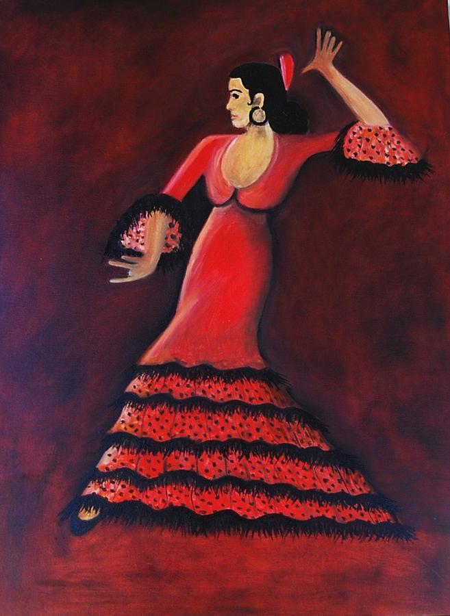 Flamenco Painting - Flamenco Dancer by Janine Antulov