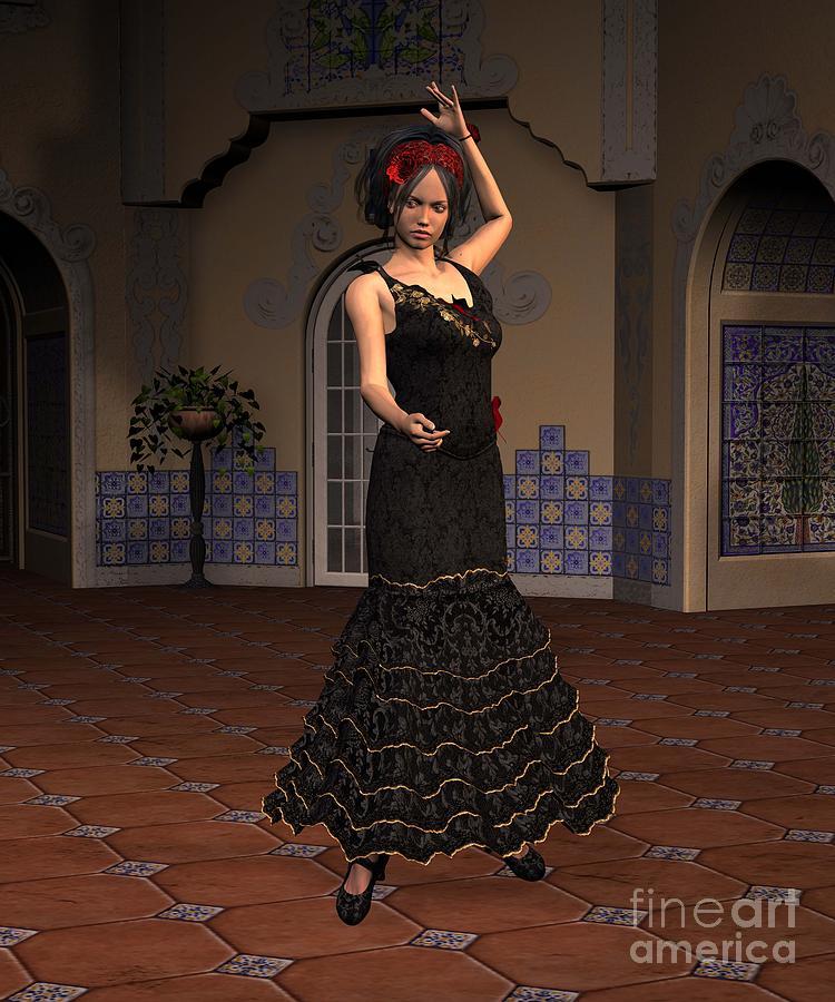 Flamenco Digital Art - Flamenco Dancer by John Junek
