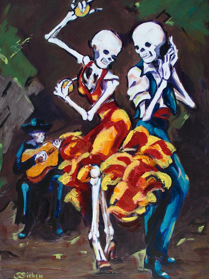Dia De Los Muertos Painting - Flamenco Dancers II by Sharon Sieben