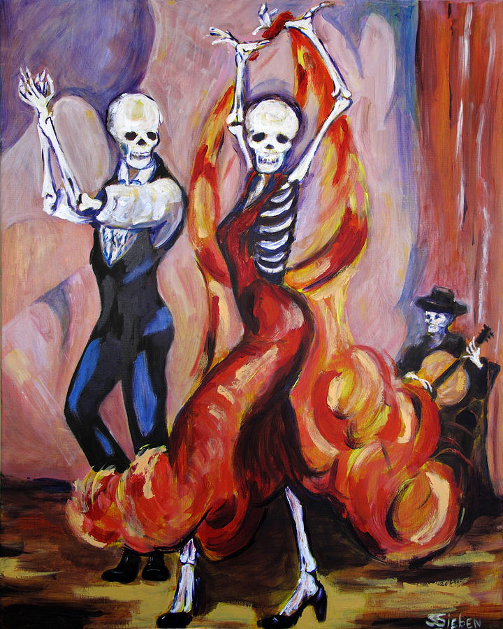 Dia De Los Muertos Painting - Flamenco Dancers by Sharon Sieben