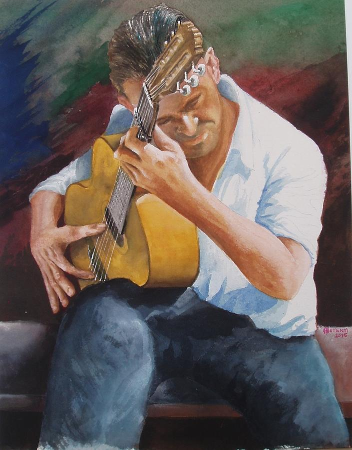 Guitar Painting - Flamenco Guitar by Charles Hetenyi