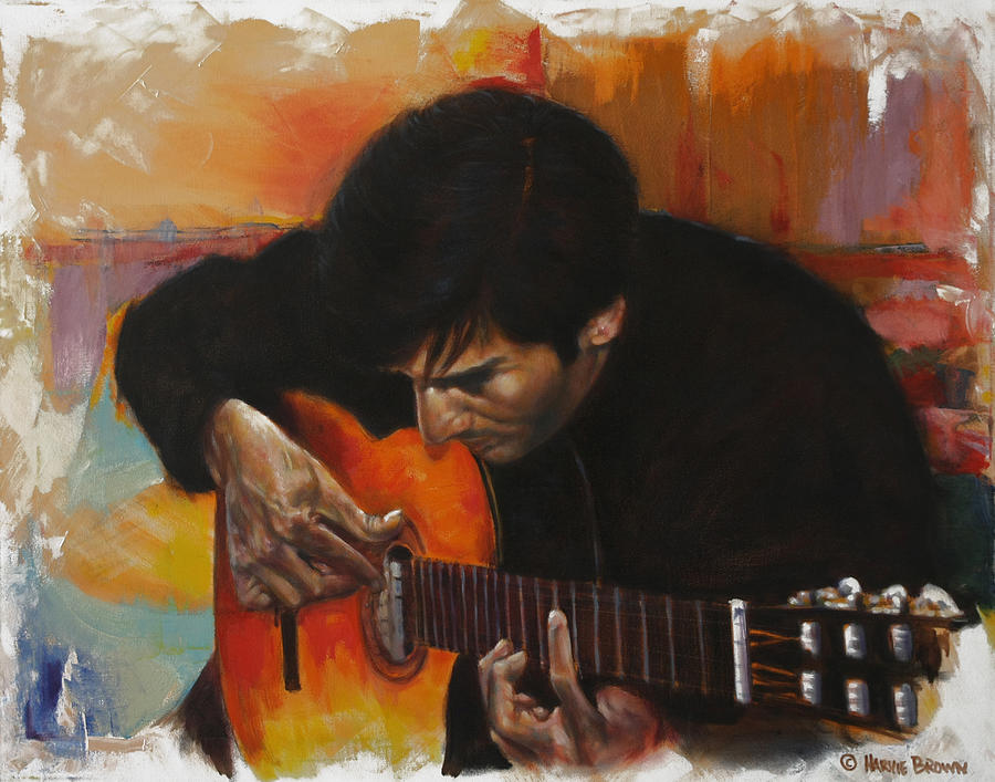 Guitar Painting - Flamenco Guitar Player by Harvie Brown