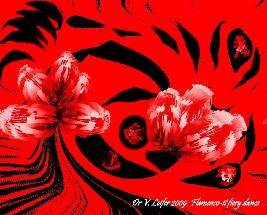 Abstact Digital Art - Flamenco-it Fiery Dance by Dr Loifer Vladimir