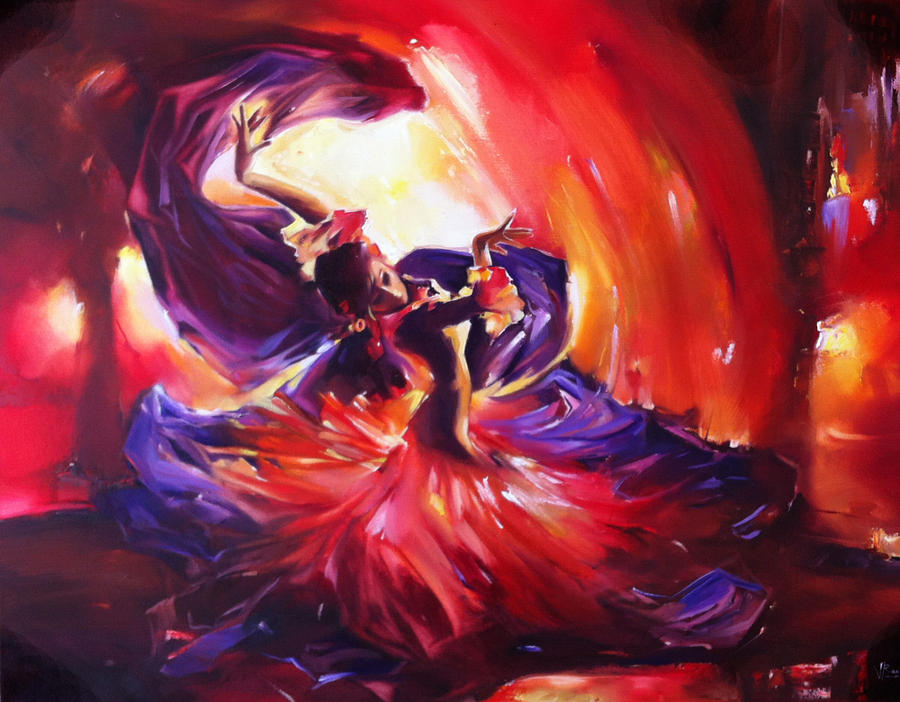 Flamenco Swirl Painting by Valentina Ragsdale