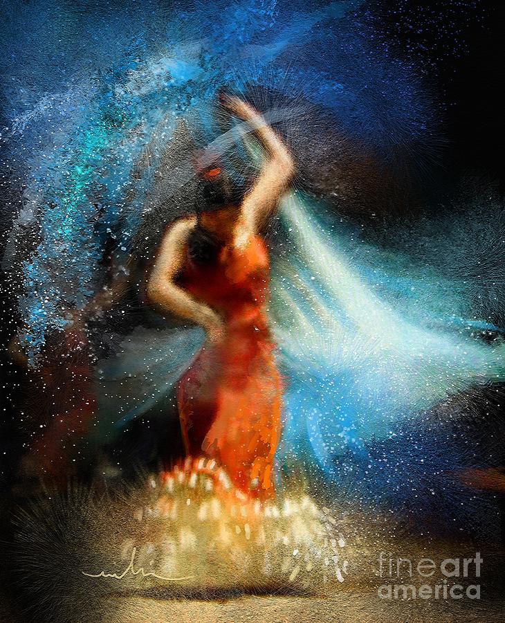 Flamenco Painting - Flamencoscape 05 by Miki De Goodaboom