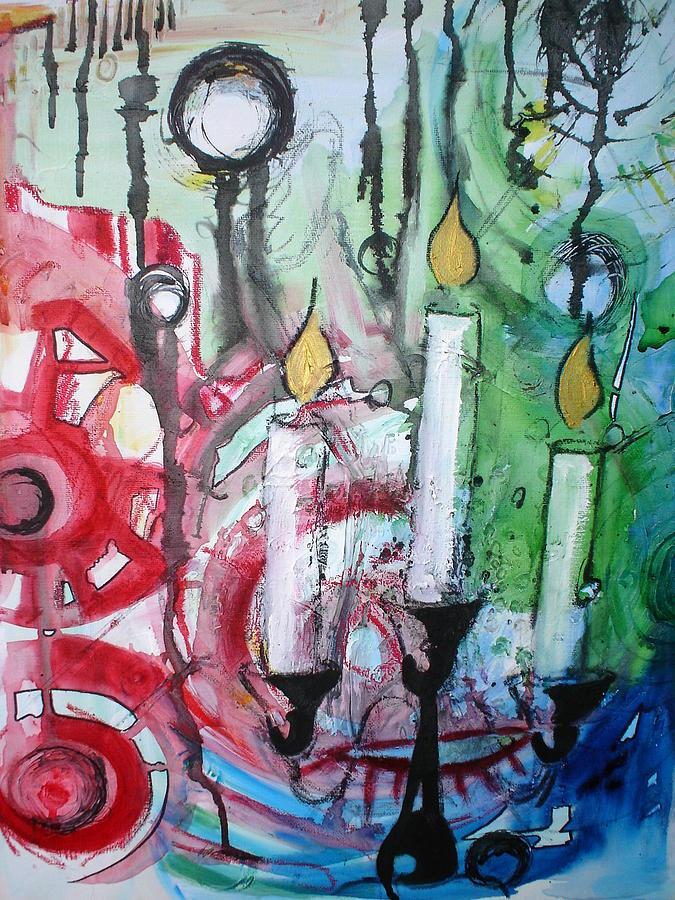 Flames Painting by Amanda Prairiewind Hess