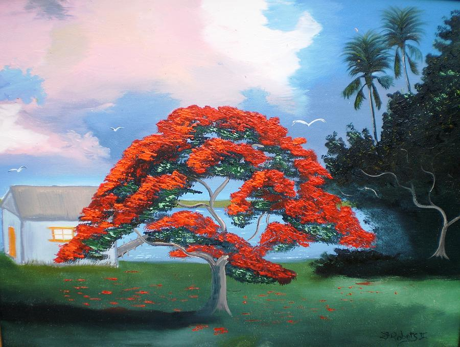 Flame Tree Painting - Flames On The River by Francis Roberts ll