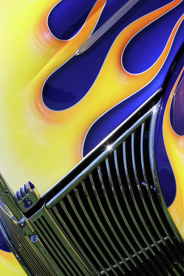 Classic Car Photograph - Flames by Rebecca Cozart