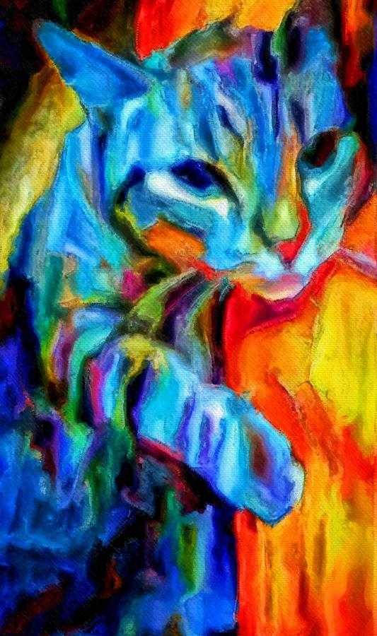 Flaming Painting - Flaming blue and orange kitty cat tiger resting gently from the prowl by MendyZ