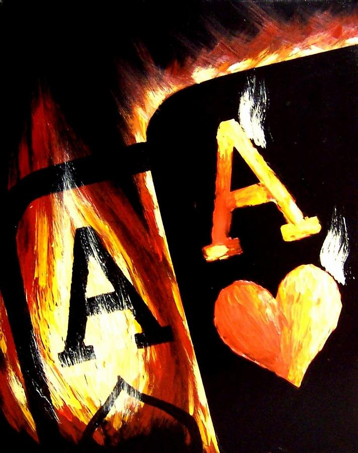 Hot Painting - Flaming Bullets Pocket Aces Poker Art by Teo Alfonso