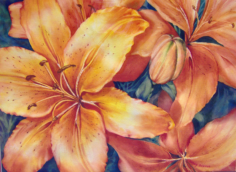 Orange Day Lilies Painting - Flaming-days by Nancy Newman