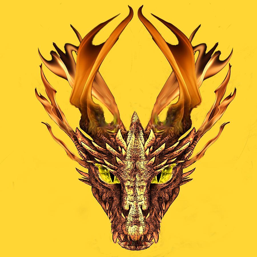 Flaming Dragon Head Digital Art by Edelberto Cabrera