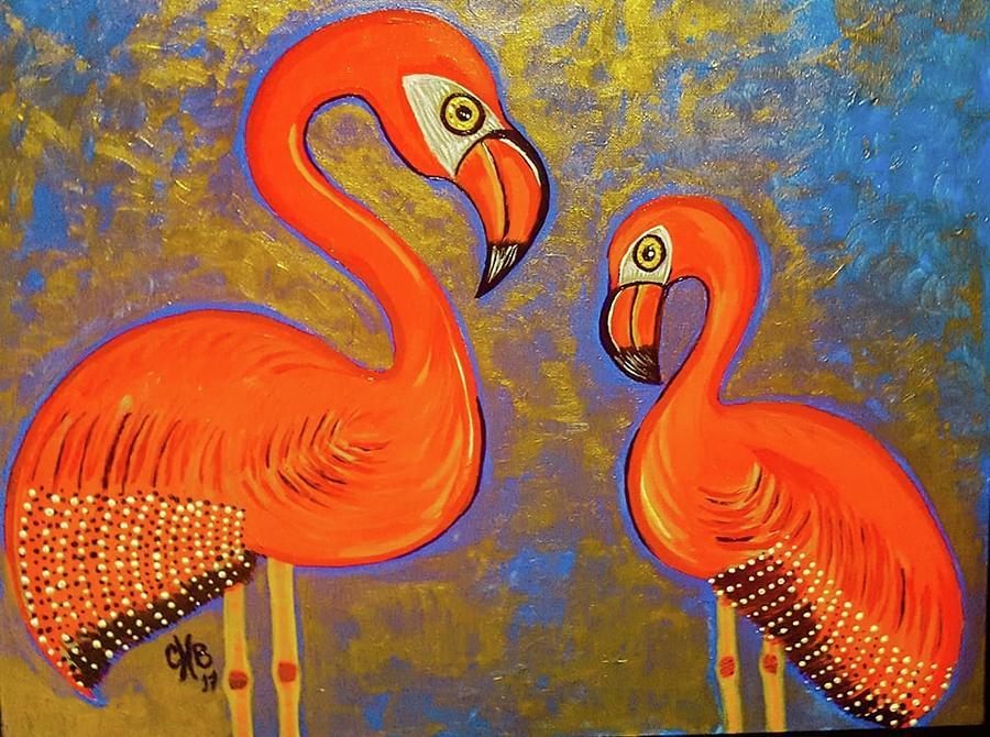 Flaming Flamingoes Painting