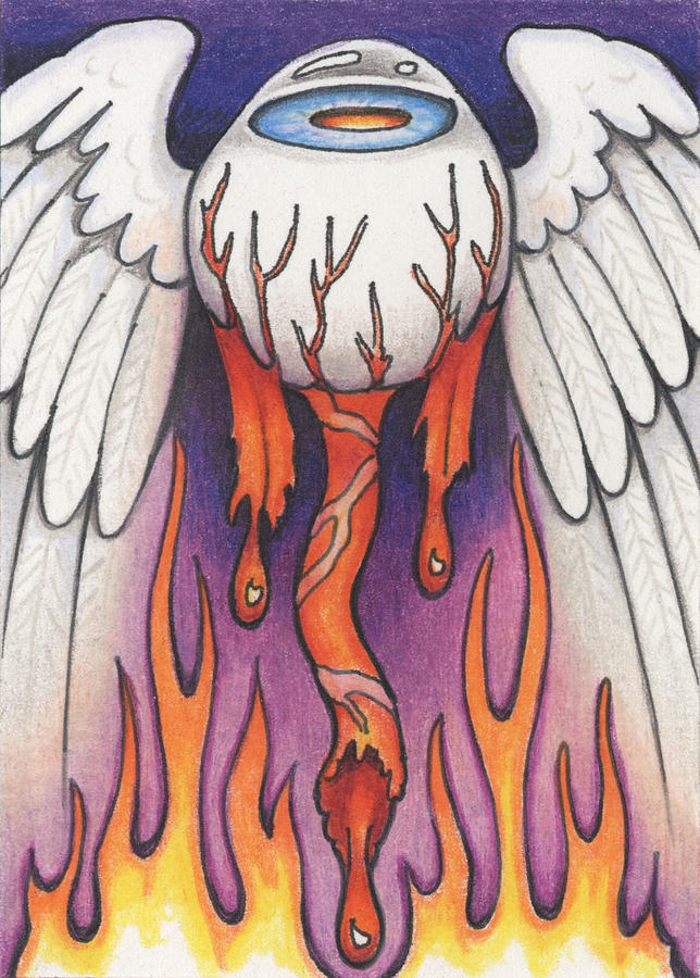 Atc Drawing - Flaming Flying Eyeball by Amy S Turner