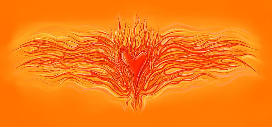 Heart Digital Art - Flaming Heart by David Kyte