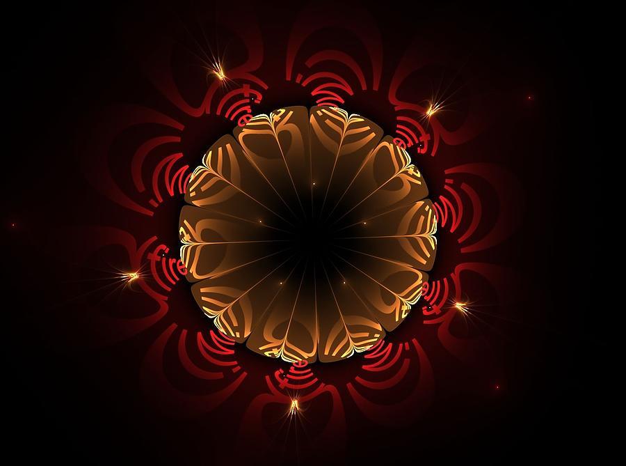 Fractal Digital Art - Flaming Night Flower by Aunita Tyler