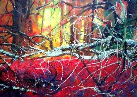 Landscape Painting - Flaming Red Forest by Krystyna Suchwallo