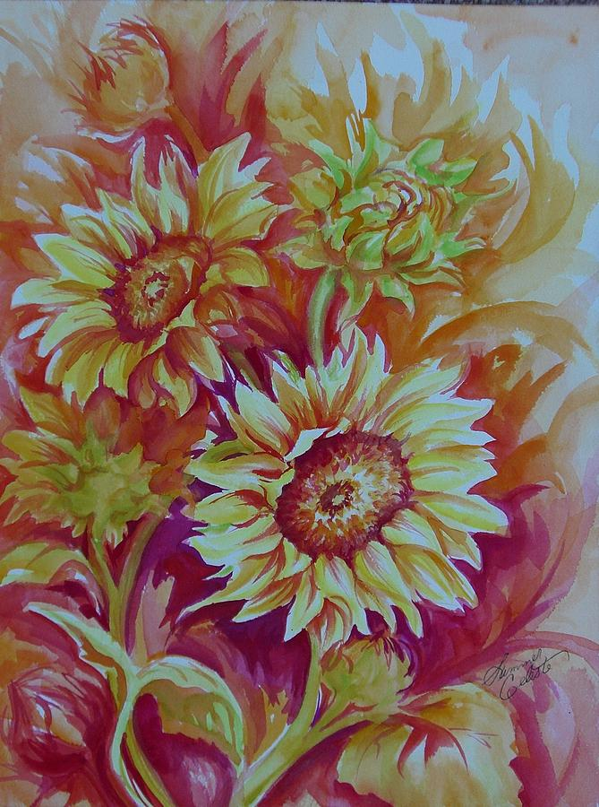 Sunflowers Painting - Flaming Sunflowers by Summer Celeste