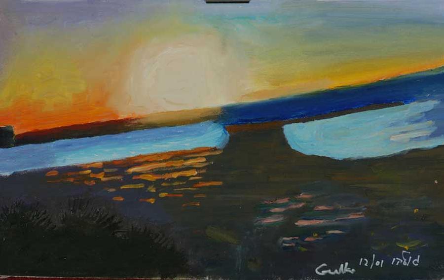 Seashore Painting - Flaming Sunset   by Harris Gulko