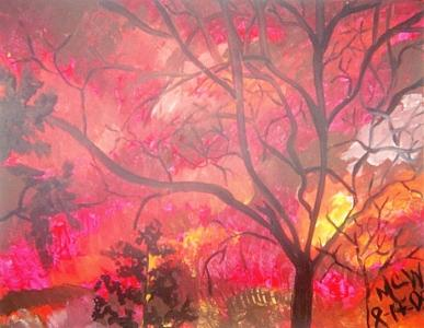 Botanical Painting - Flaming Trees Original Framed   by Christine Ward
