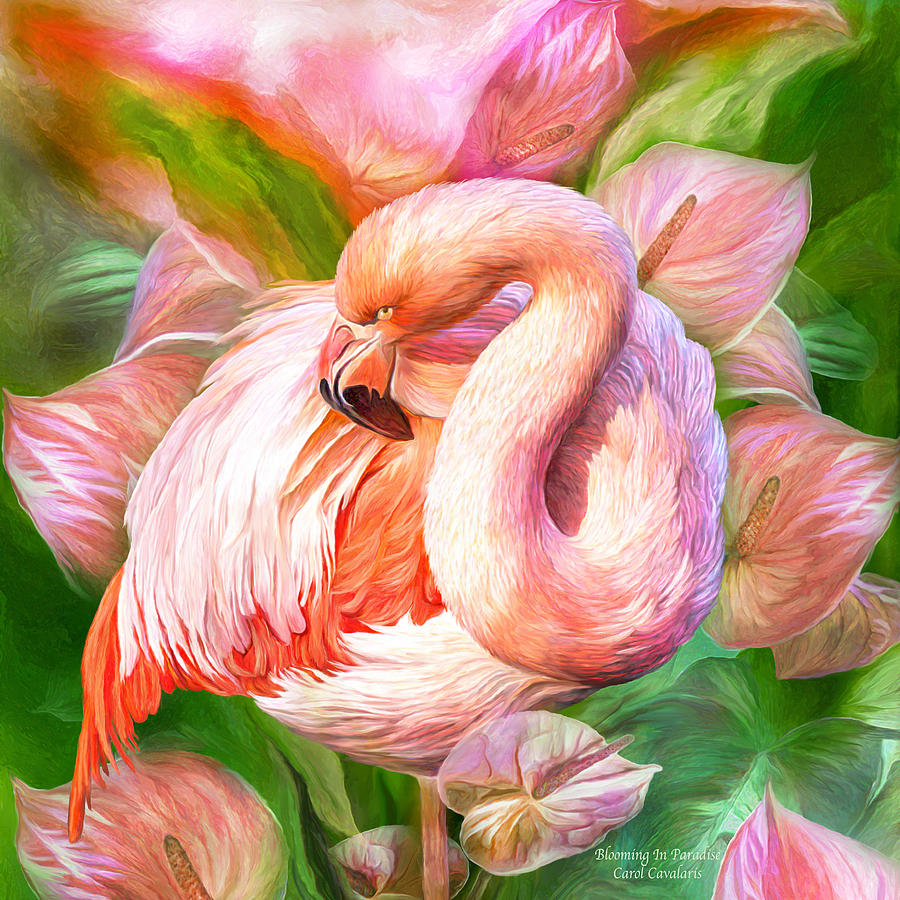 Flamingo And Flowers Blooming In Paradise Sq Mixed Media By Carol
