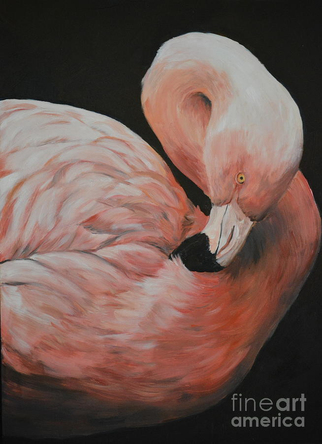 Bird Painting - Flamingo by Charlotte Yealey