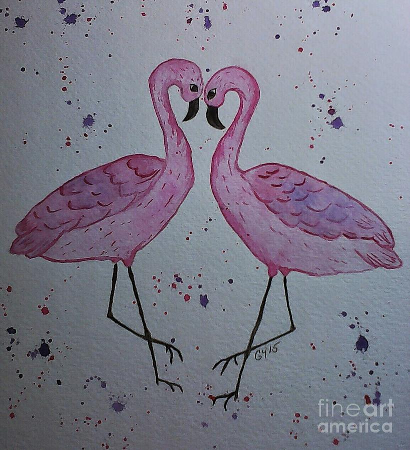 Pink Flamingo Painting - Flamingo Dance by Ginny Youngblood