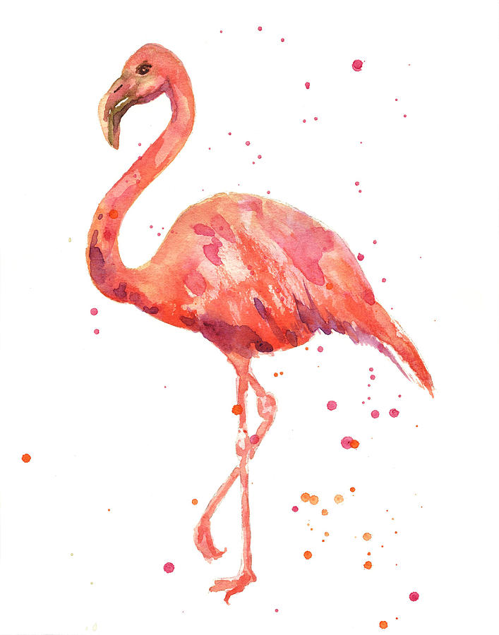 Flamingo Facing Left Painting by Alison Fennell