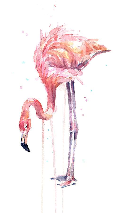 Watercolor Flamingo Painting - Flamingo Illustration Watercolor - Facing Left by Olga Shvartsur