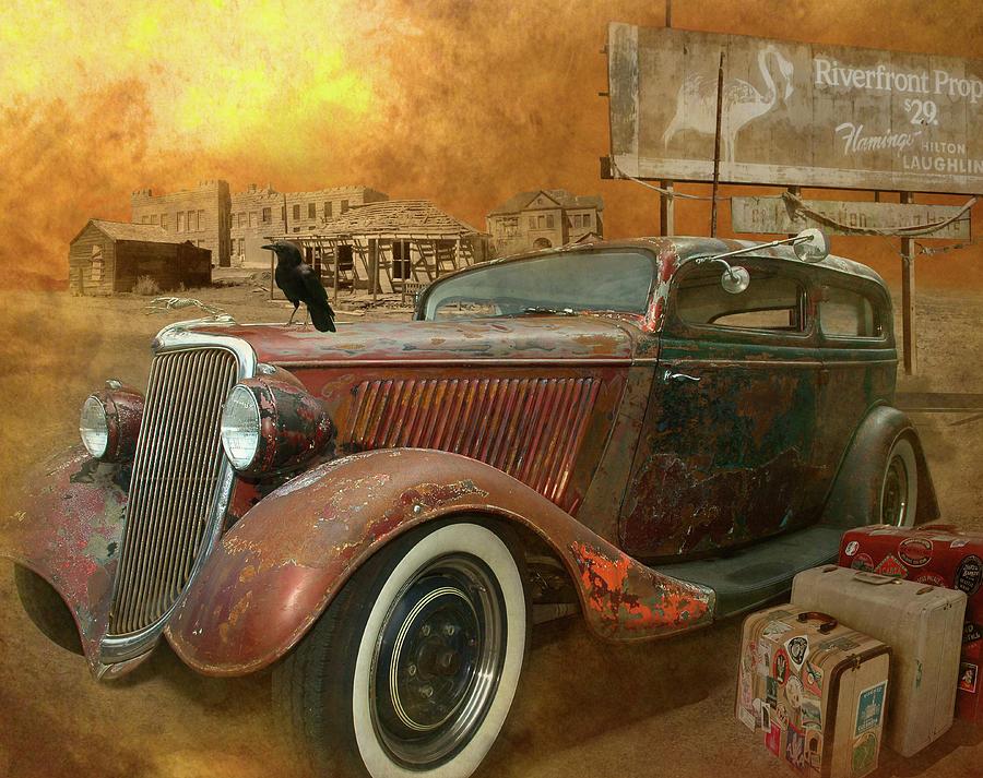Antique Auto Digital Art - Flamingo Land by Jeff Burgess