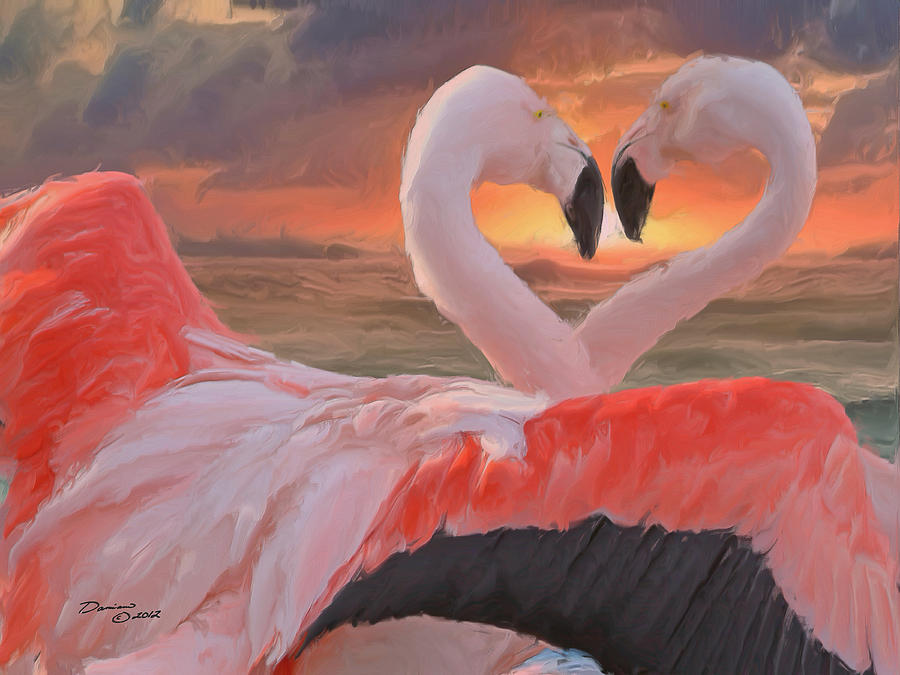Flamingo Love Painting by Damiano Navanzati