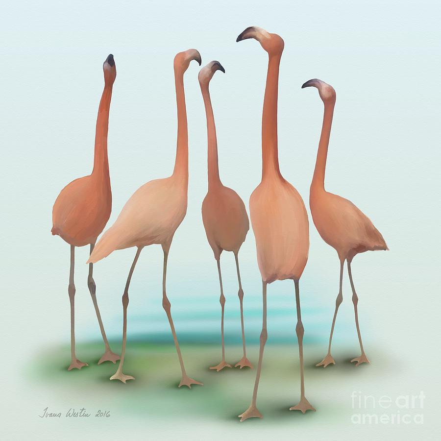Drawing Painting - Flamingo Mingle by Ivana Westin