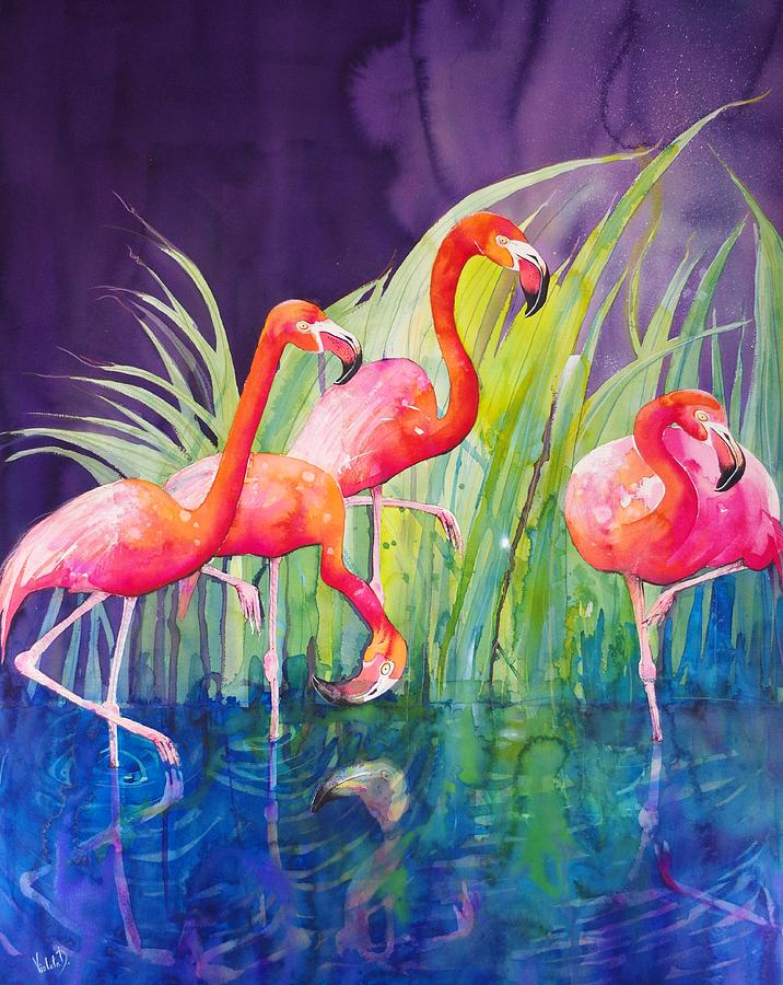 Flamingos Painting - Flamingo Night by Violeta Damjanovic-Behrendt