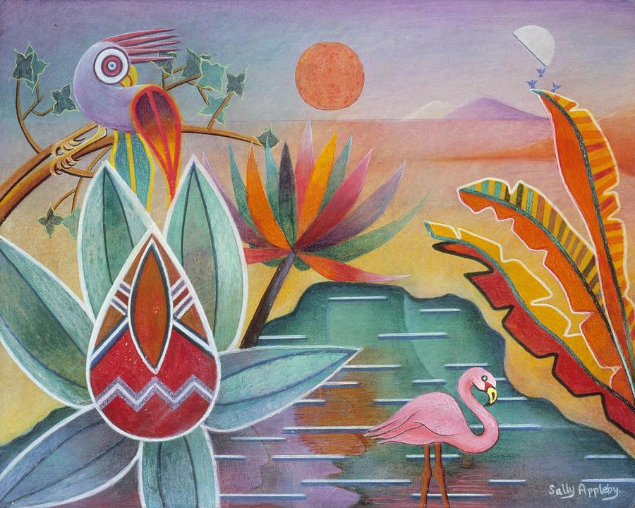 Fantasy Mixed Media - Flamingo Oasis by Sally Appleby