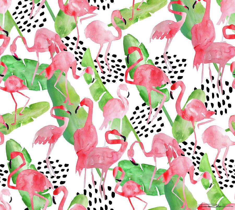 Flamingo Painting - Flamingo Paradise by Roleen Senic