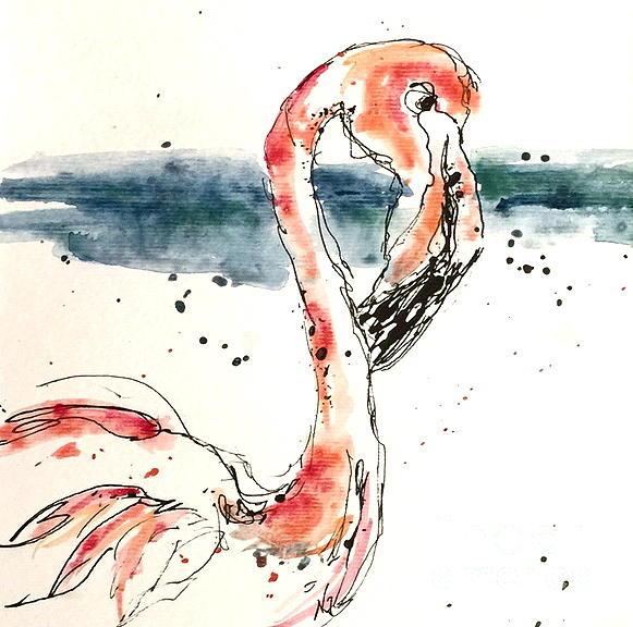 Nature Painting - Flamingo Pool by Norma Gafford