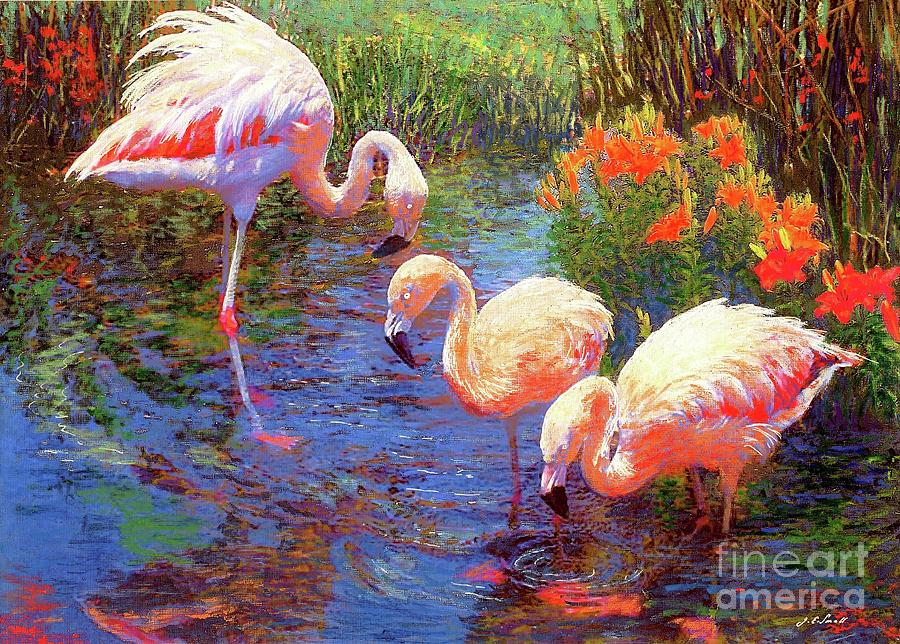 Colorful Painting - Flamingo Tangerine Dream by Jane Small