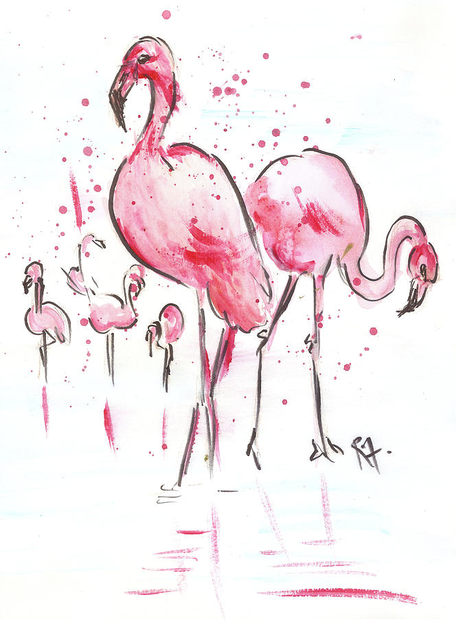 Flamingoes Painting by Remy Francis