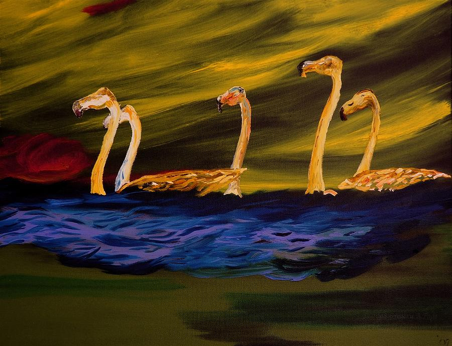 Birds Painting - Flamingoes Swim African Birds by Gregory Allen Page