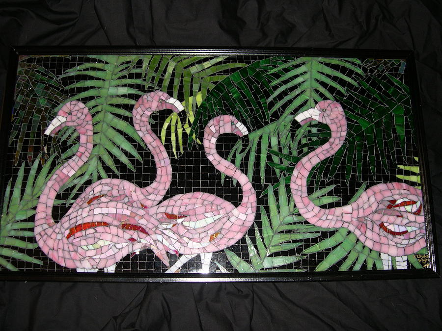 Flamingoes Glass Art - Flamingos And Palms by Jane Wright