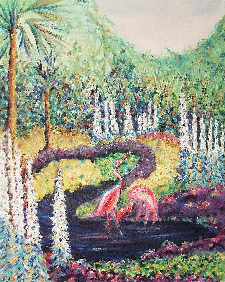 Flamingo Painting - Flamingos In Florida by Suzanne  Marie Leclair