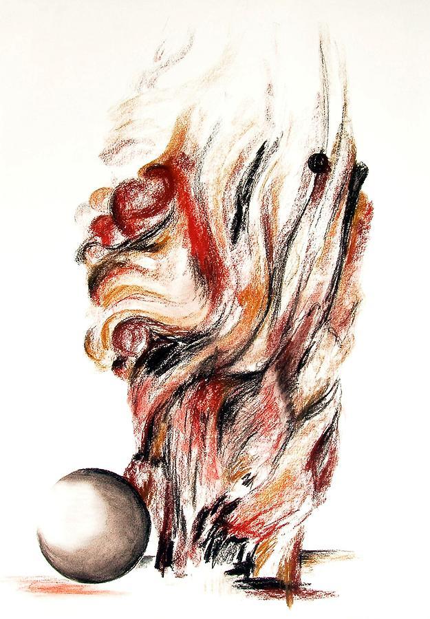 Still Life Drawing - Flamme en bois by Muriel Dolemieux