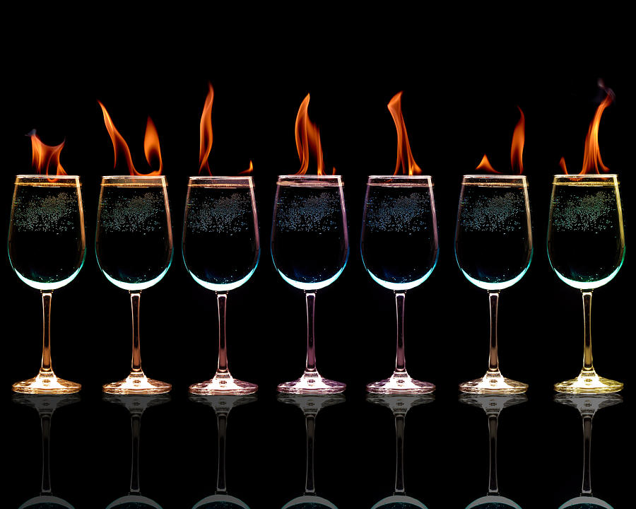 Wine Glasses Photograph - Flamming Glasses by Brian Guiler