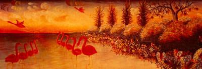 Flamingos Painting by Frantz Petion