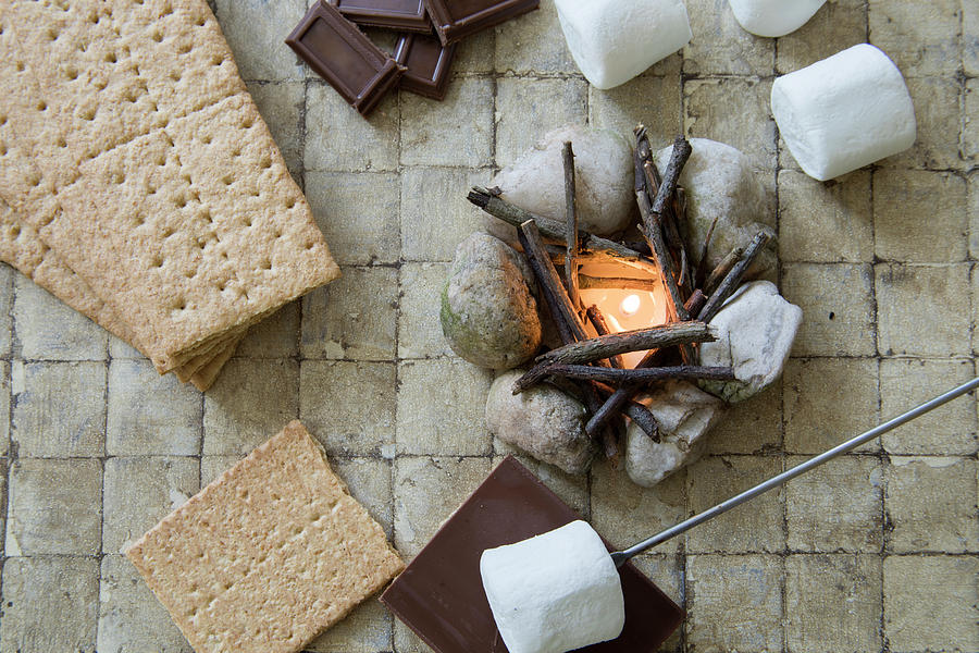 Above Photograph - Flat Lay Camp Fire Smores Deconstructed by Karen Foley