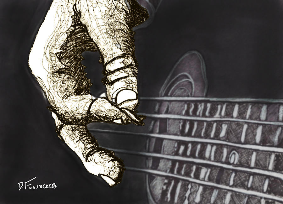 Guitar Hand1 Drawing - Flat Pickin by David Fossaceca